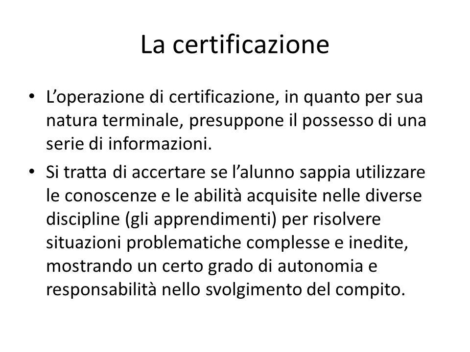La certificazione L'operazione di certificazione, in quanto per sua natura terminale, presuppone il possesso di una serie di informazioni. Si tratta d