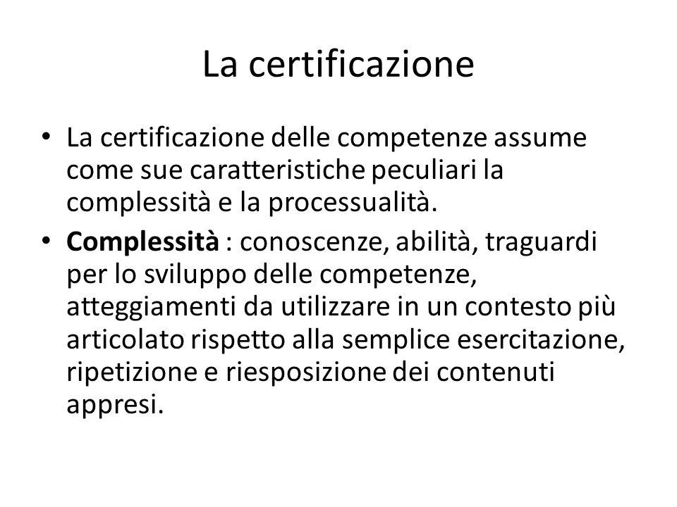 La certificazione La certificazione delle competenze assume come sue caratteristiche peculiari la complessità e la processualità. Complessità : conosc