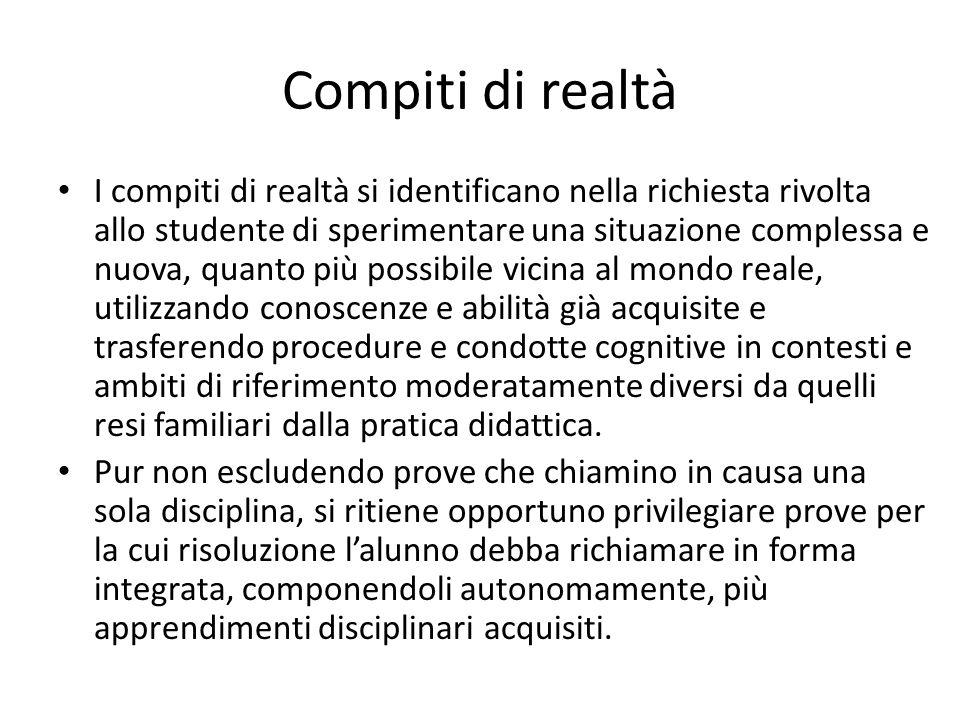 Compiti di realtà I compiti di realtà si identificano nella richiesta rivolta allo studente di sperimentare una situazione complessa e nuova, quanto p
