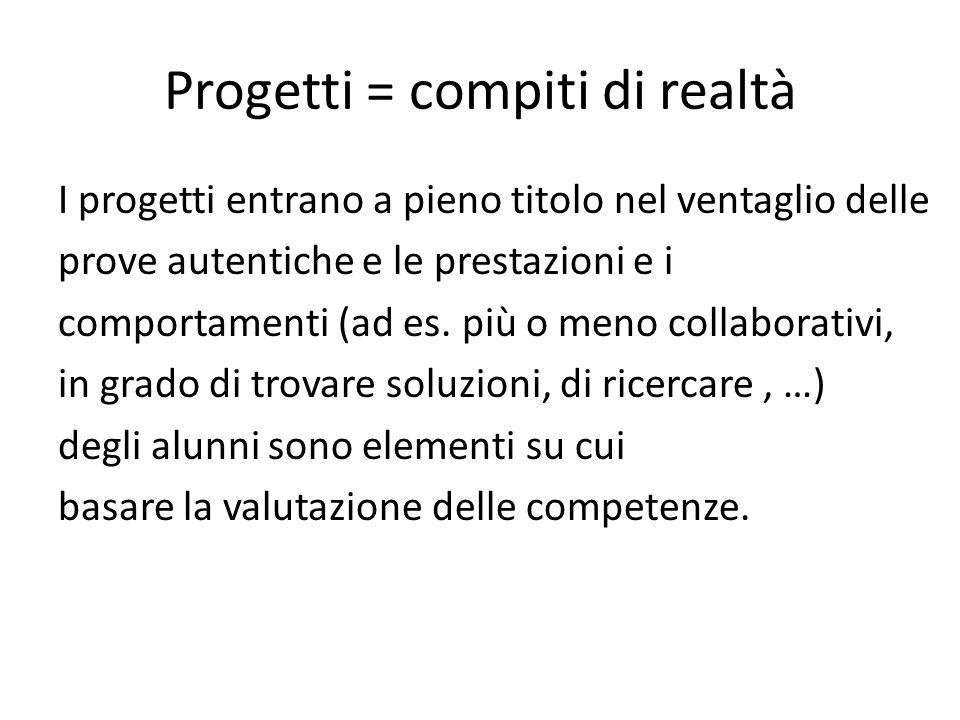 Progetti = compiti di realtà I progetti entrano a pieno titolo nel ventaglio delle prove autentiche e le prestazioni e i comportamenti (ad es. più o m