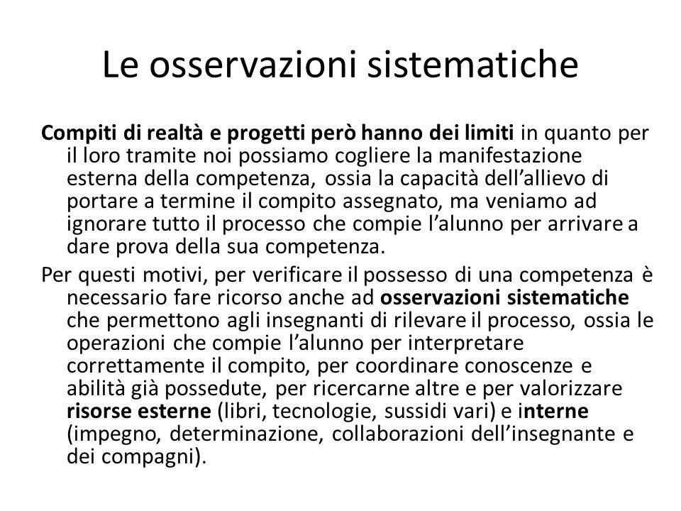 Le osservazioni sistematiche Compiti di realtà e progetti però hanno dei limiti in quanto per il loro tramite noi possiamo cogliere la manifestazione