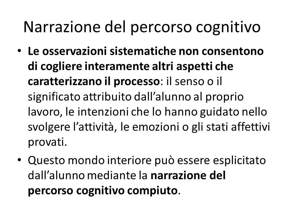 Narrazione del percorso cognitivo Le osservazioni sistematiche non consentono di cogliere interamente altri aspetti che caratterizzano il processo: il
