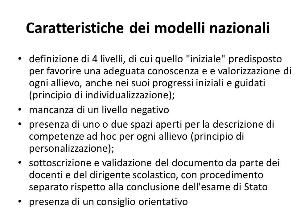 Caratteristiche dei modelli nazionali definizione di 4 livelli, di cui quello