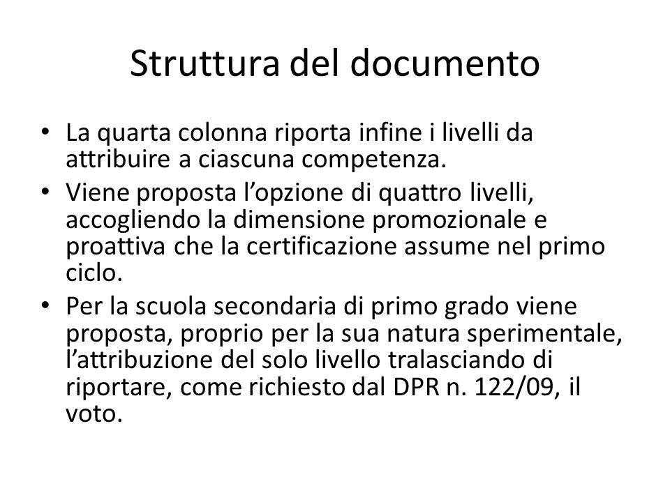 Struttura del documento La quarta colonna riporta infine i livelli da attribuire a ciascuna competenza. Viene proposta l'opzione di quattro livelli, a