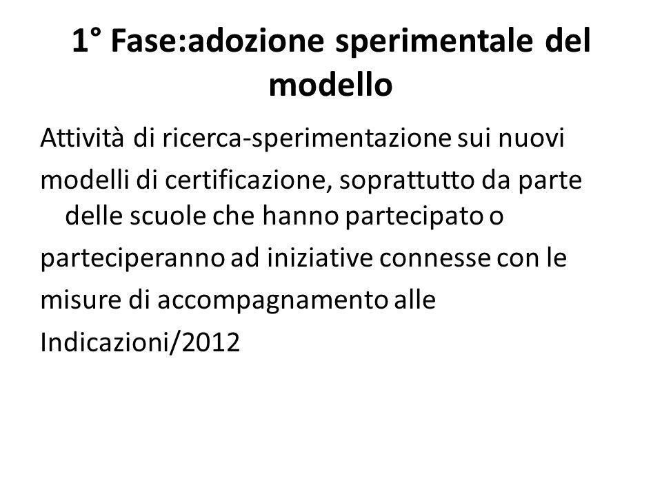 1° Fase:adozione sperimentale del modello Attività di ricerca-sperimentazione sui nuovi modelli di certificazione, soprattutto da parte delle scuole c