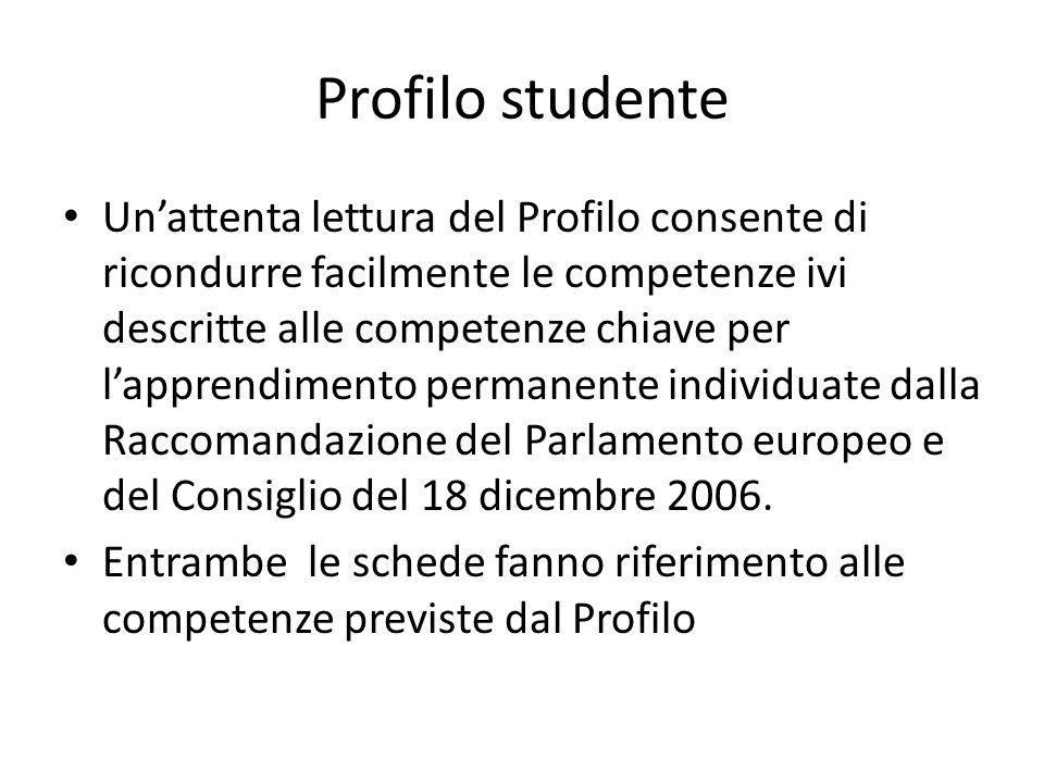 Profilo studente Un'attenta lettura del Profilo consente di ricondurre facilmente le competenze ivi descritte alle competenze chiave per l'apprendimen