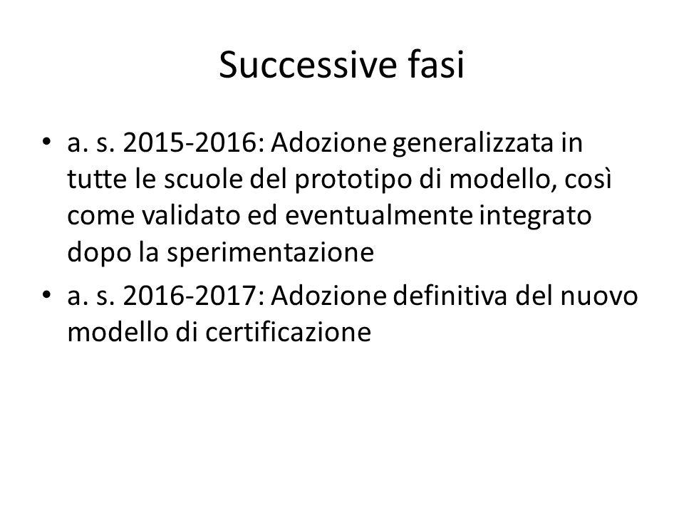Successive fasi a. s. 2015-2016: Adozione generalizzata in tutte le scuole del prototipo di modello, così come validato ed eventualmente integrato dop