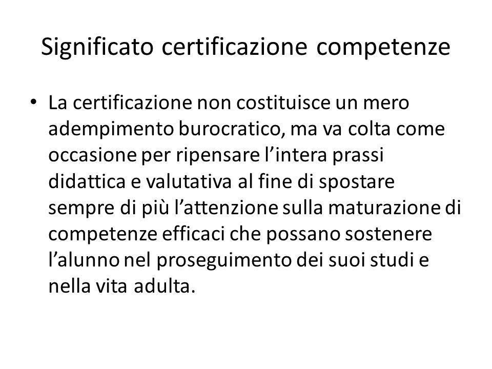 Significato certificazione competenze La certificazione non costituisce un mero adempimento burocratico, ma va colta come occasione per ripensare l'in