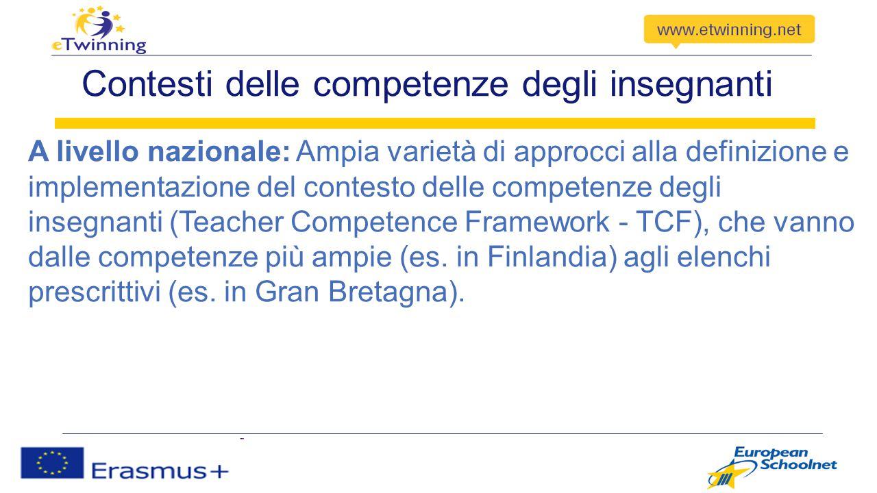 Contesti delle competenze degli insegnanti A livello europeo/internazionale Non esiste un TCF generale ed esaustivo, ma contesti solo per specifiche aree tematiche (es.