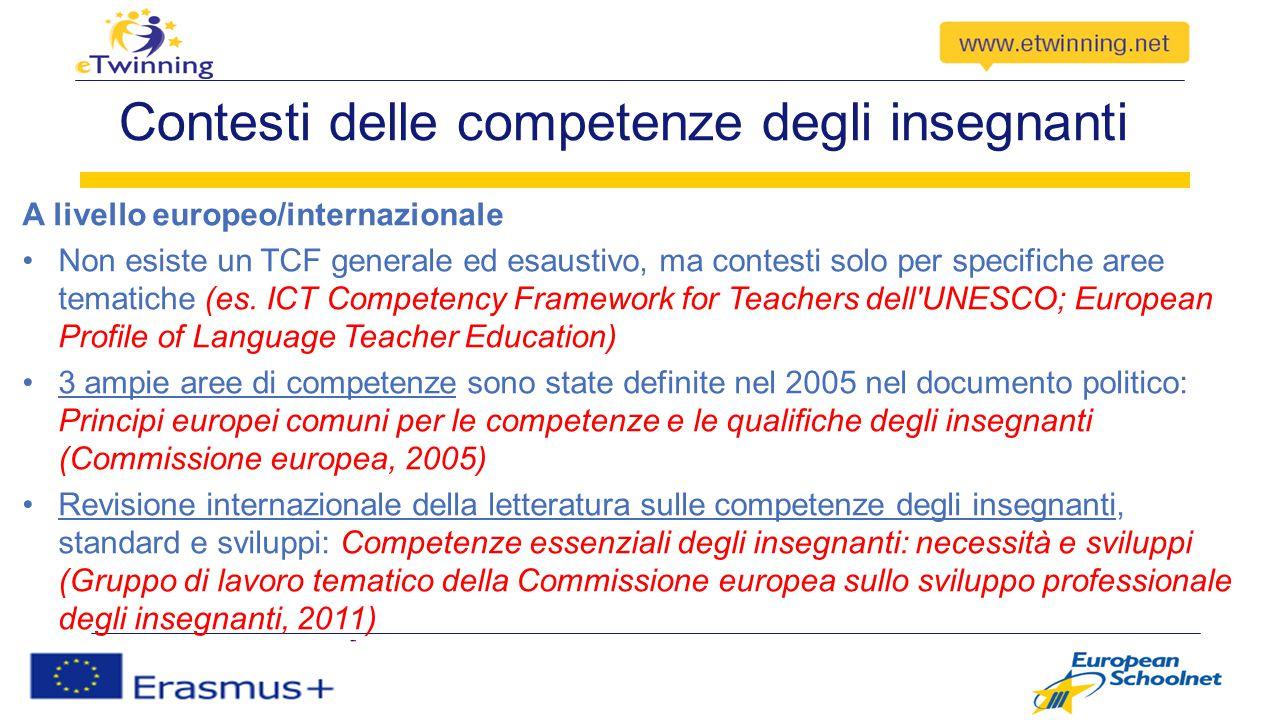 3 ampie aree di competenza per gli insegnanti 1)Lavorare con gli altri Lavorare in modo efficace con i discenti Collaborare con i colleghi Principi comuni europei per le competenze e le qualifiche (CE, 2005)