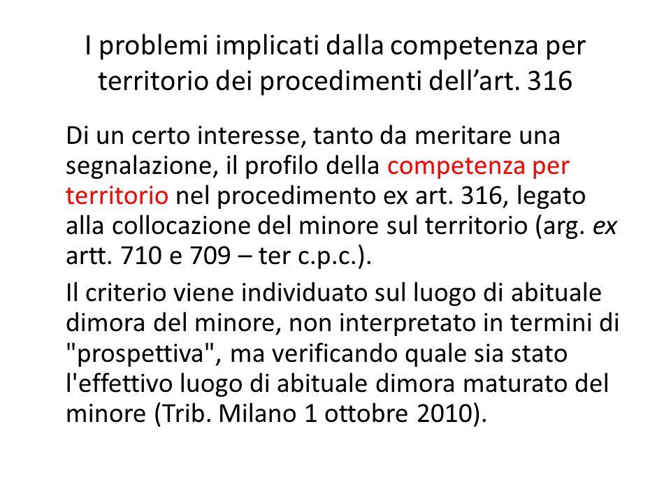 I problemi implicati dalla competenza per territorio dei procedimenti dell'art.