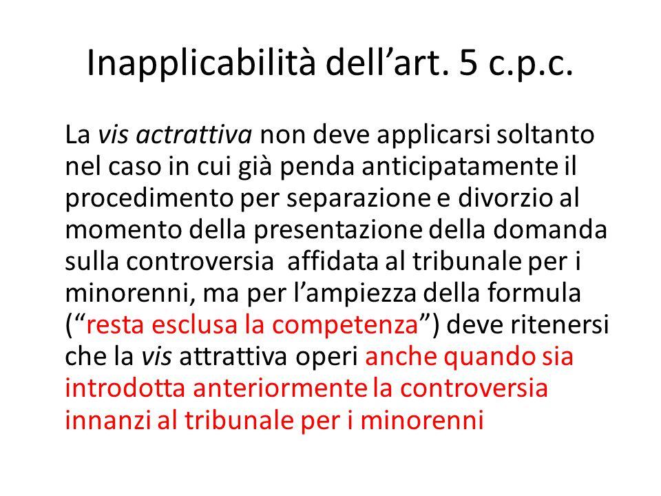 Inapplicabilità dell'art.5 c.p.c.