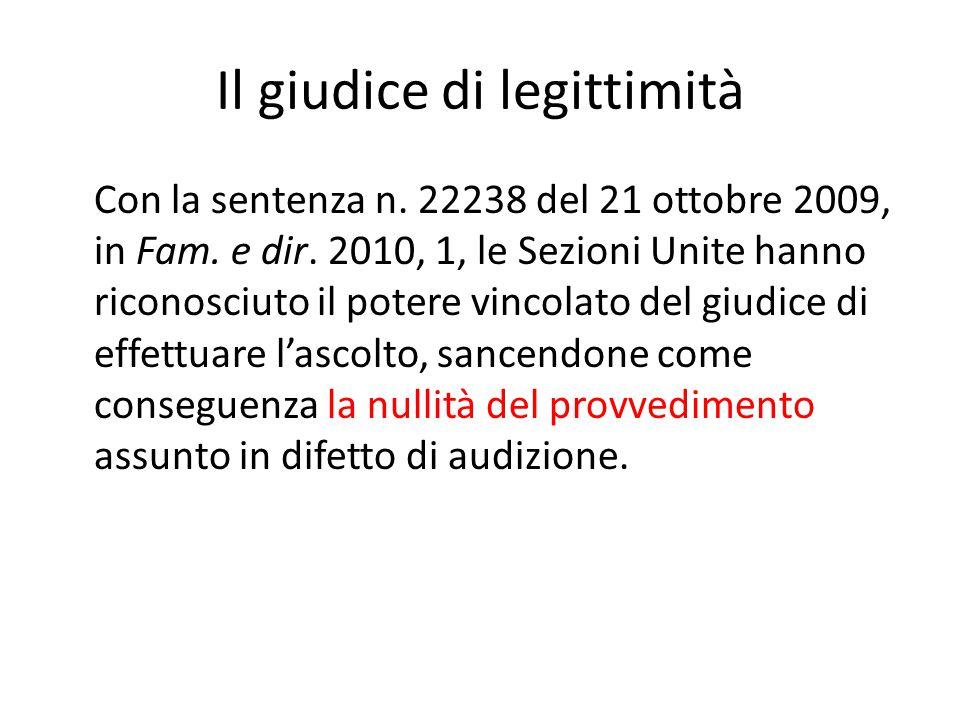 Il giudice di legittimità Con la sentenza n.22238 del 21 ottobre 2009, in Fam.