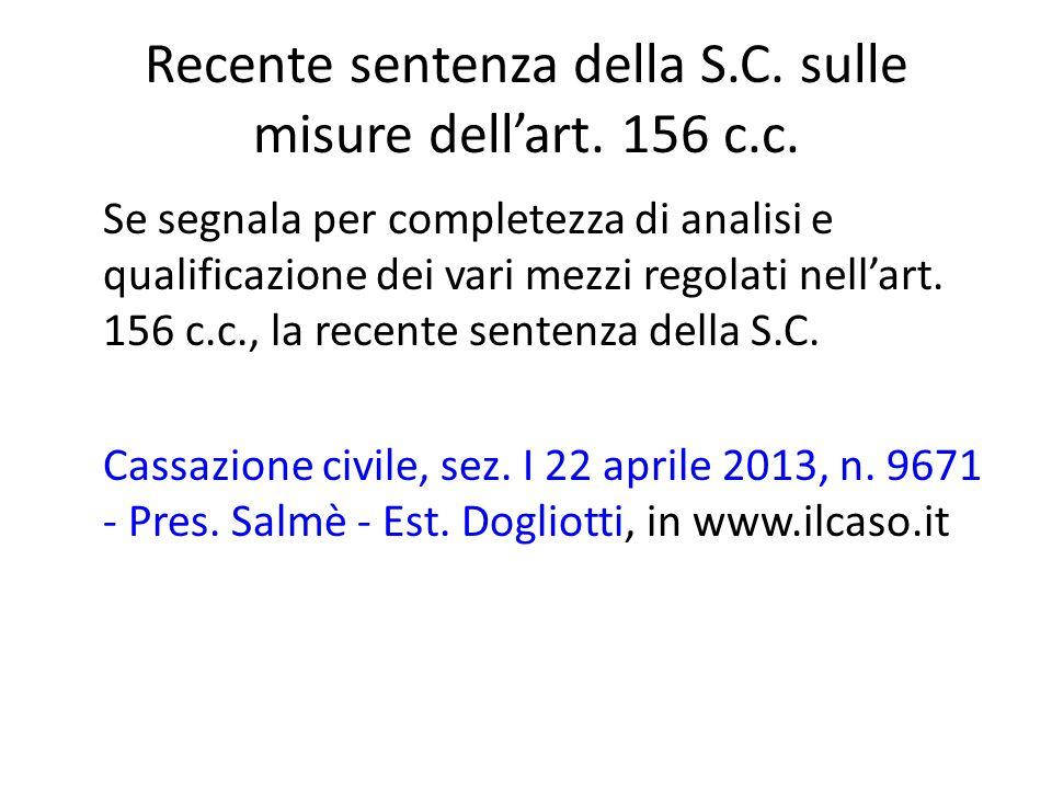 Recente sentenza della S.C.sulle misure dell'art.