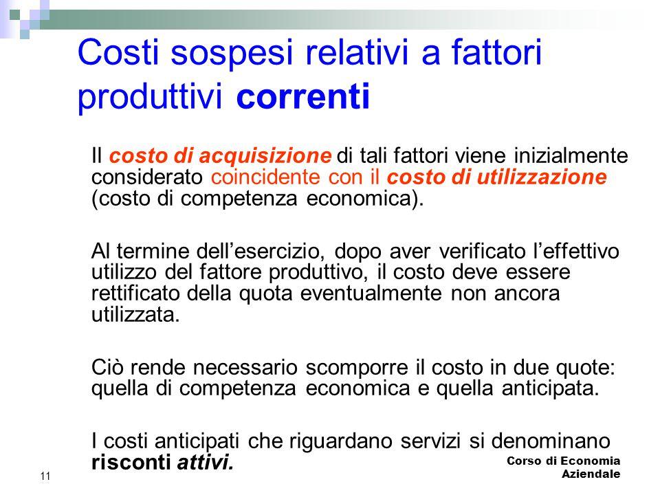 Corso di Economia Aziendale 11 Costi sospesi relativi a fattori produttivi correnti Il costo di acquisizione di tali fattori viene inizialmente consid