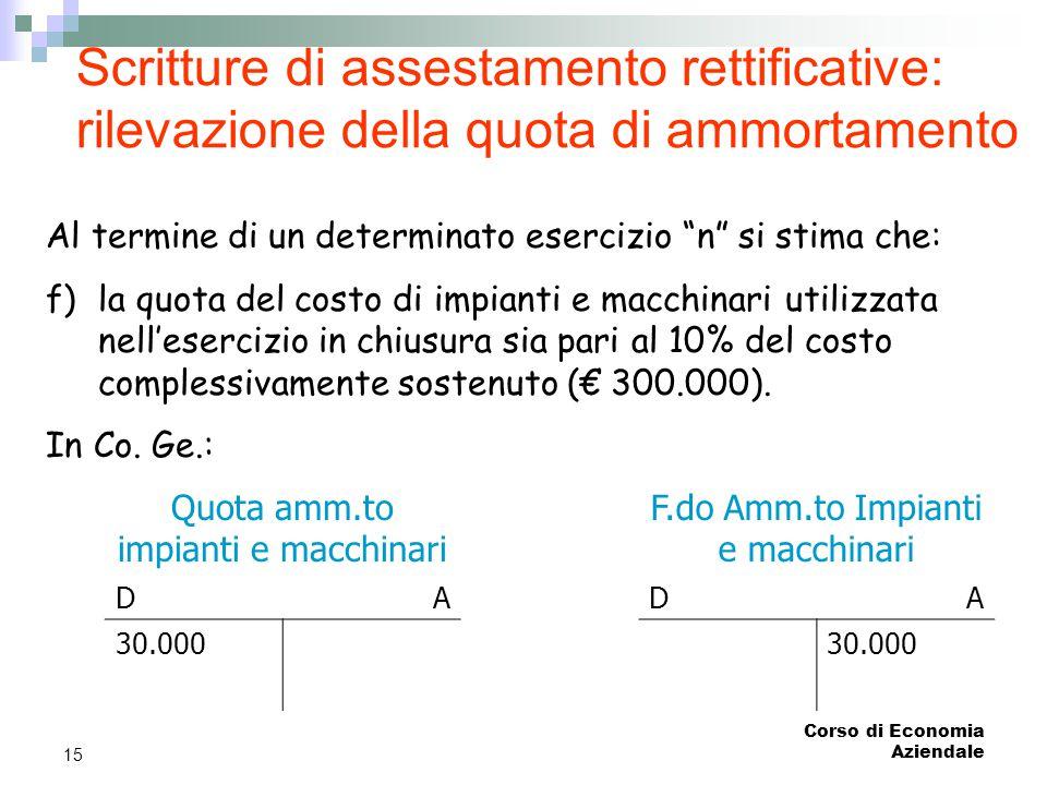 Corso di Economia Aziendale 15 Scritture di assestamento rettificative: rilevazione della quota di ammortamento Al termine di un determinato esercizio