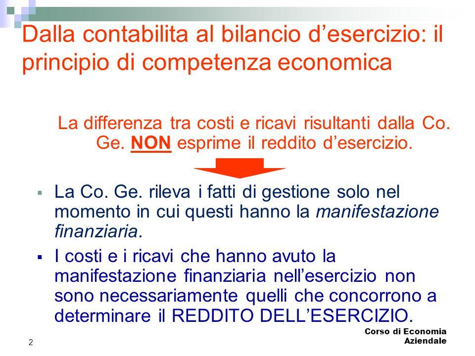 Corso di Economia Aziendale 2 Dalla contabilita al bilancio d'esercizio: il principio di competenza economica La differenza tra costi e ricavi risulta