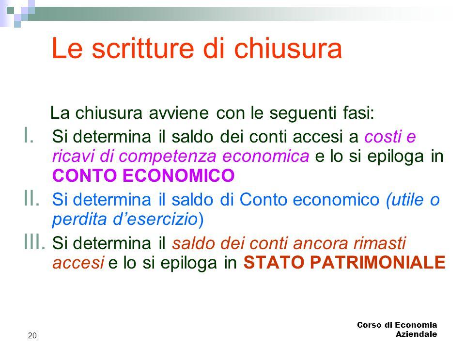 Corso di Economia Aziendale 20 La chiusura avviene con le seguenti fasi: I. Si determina il saldo dei conti accesi a costi e ricavi di competenza econ