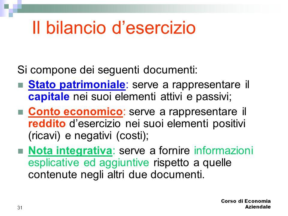 Corso di Economia Aziendale 31 Il bilancio d'esercizio Si compone dei seguenti documenti: Stato patrimoniale: serve a rappresentare il capitale nei su