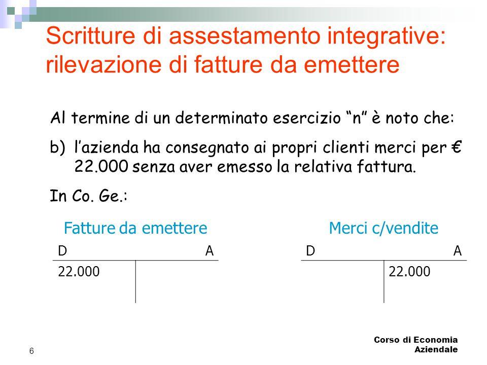"""Corso di Economia Aziendale 6 Scritture di assestamento integrative: rilevazione di fatture da emettere Al termine di un determinato esercizio """"n"""" è n"""