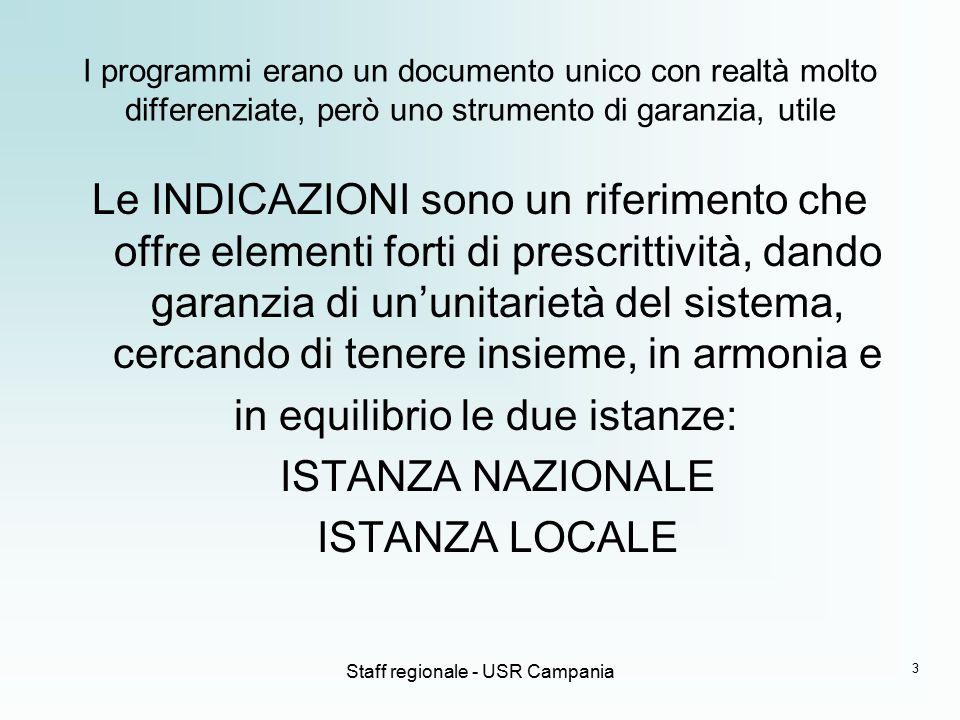 Staff regionale - USR Campania Le INDICAZIONI hanno avuto, in un arco di tempo breve, ben quattro versioni INDIRIZZI PER IL CURRICULUM (DE MAURO) INDICAZIONI PER I PPAE/PSP (MORATTI) INDICAZIONI PER IL CURRICOLO (FIORONI) INDICAZIONI NAZIONALI 2012 4