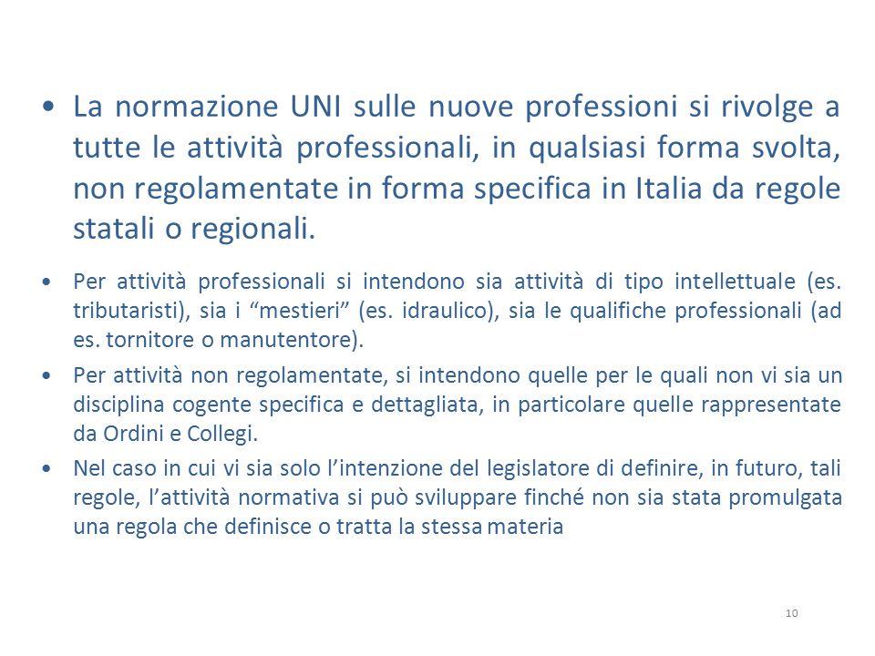 10 La normazione UNI sulle nuove professioni si rivolge a tutte le attività professionali, in qualsiasi forma svolta, non regolamentate in forma specifica in Italia da regole statali o regionali.