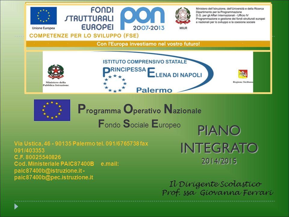 P rogramma O perativo N azionale F ondo S ociale E uropeo PIANOINTEGRATO2014/2015 Il Dirigente Scolastico Prof.