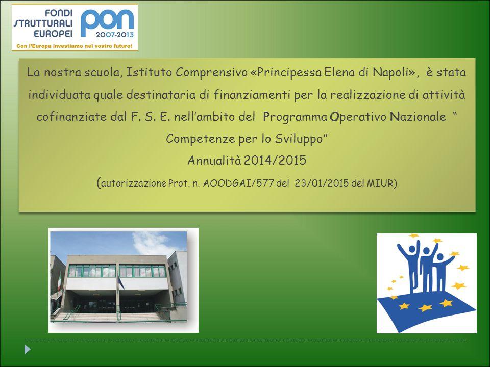 La nostra scuola, Istituto Comprensivo «Principessa Elena di Napoli», è stata individuata quale destinataria di finanziamenti per la realizzazione di attività cofinanziate dal F.