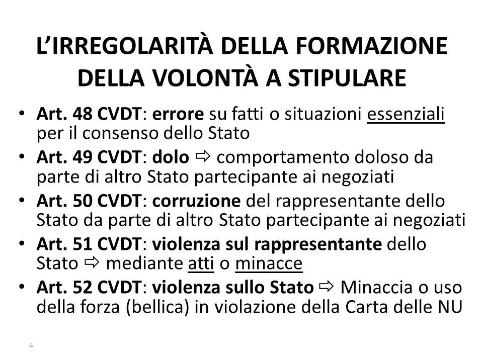 L'IRREGOLARITÀ DELLA FORMAZIONE DELLA VOLONTÀ A STIPULARE Art. 48 CVDT: errore su fatti o situazioni essenziali per il consenso dello Stato Art. 49 CV