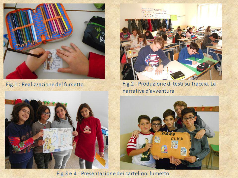 Fig.3 e 4 : Presentazione dei cartelloni fumetto Fig.1 : Realizzazione del fumetto Fig.2 : Produzione di testi su traccia. La narrativa d'avventura
