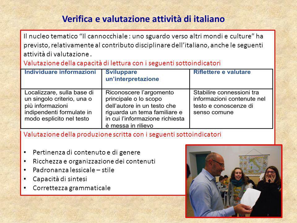 """Il nucleo tematico """"Il cannocchiale : uno sguardo verso altri mondi e culture"""" ha previsto, relativamente al contributo disciplinare dell'italiano, an"""