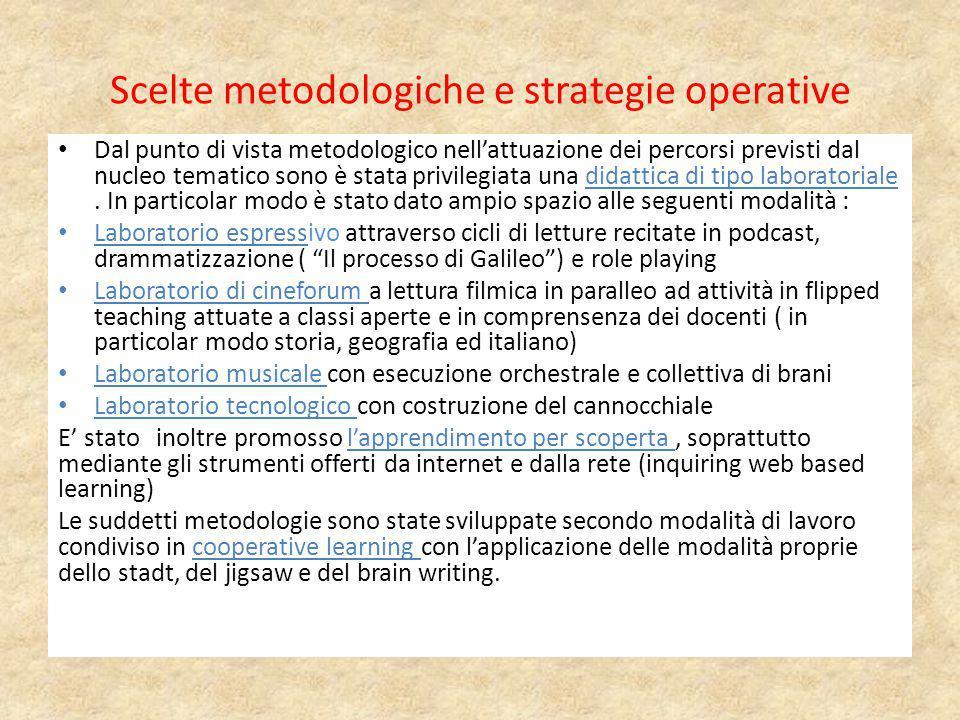 Scelte metodologiche e strategie operative Dal punto di vista metodologico nell'attuazione dei percorsi previsti dal nucleo tematico sono è stata priv