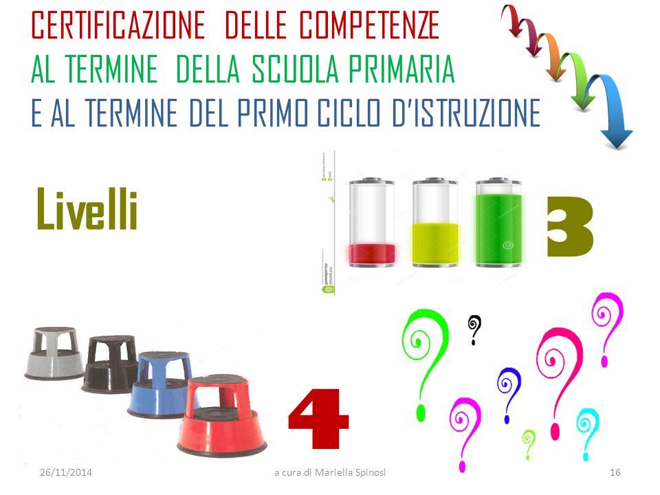 CERTIFICAZIONE DELLE COMPETENZE AL TERMINE DELLA SCUOLA PRIMARIA E AL TERMINE DEL PRIMO CICLO D'ISTRUZIONE 26/11/2014a cura di Mariella Spinosi Livelli 3 4 16