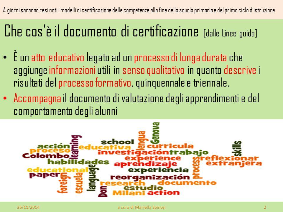 Che cos'è il documento di certificazione [dalle Linee guida] È un atto educativo legato ad un processo di lunga durata che aggiunge informazioni utili in senso qualitativo in quanto descrive i risultati del processo formativo, quinquennale e triennale.