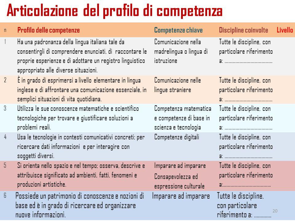 Articolazione del profilo di competenza 26/11/2014a cura di Mariella Spinosi n Profilo delle competenzeCompetenze chiaveDiscipline coinvolteLivello 1