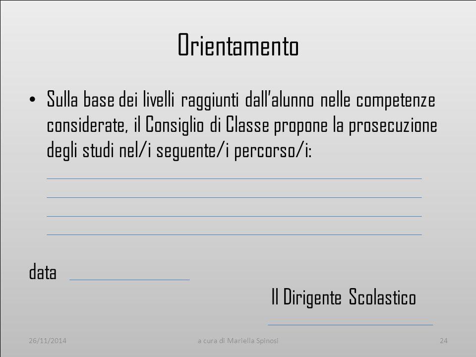Orientamento Sulla base dei livelli raggiunti dall'alunno nelle competenze considerate, il Consiglio di Classe propone la prosecuzione degli studi nel