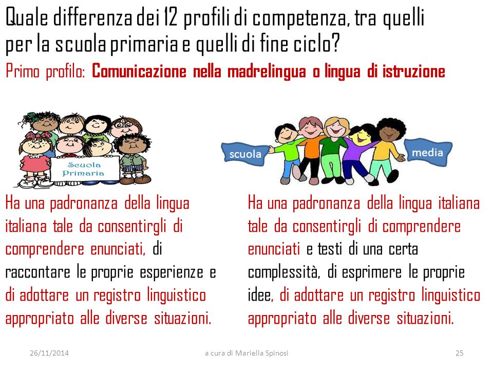 Quale differenza dei 12 profili di competenza, tra quelli per la scuola primaria e quelli di fine ciclo? Ha una padronanza della lingua italiana tale