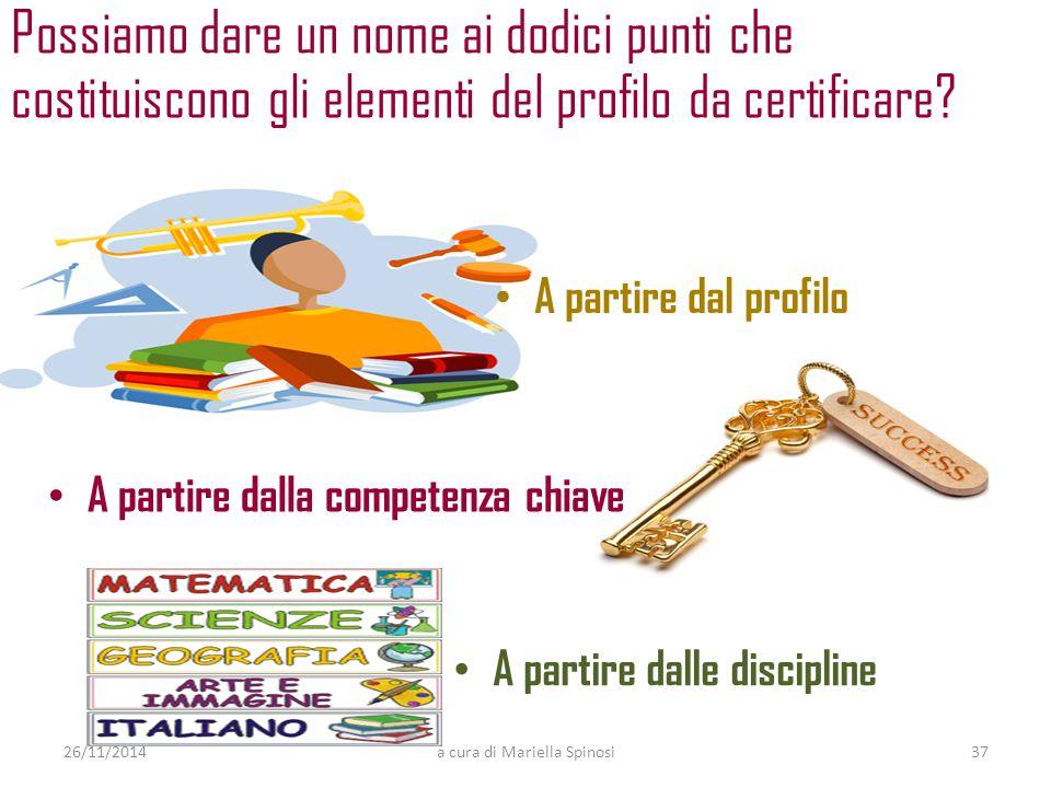 Possiamo dare un nome ai dodici punti che costituiscono gli elementi del profilo da certificare? 26/11/2014a cura di Mariella Spinosi lingua italiana