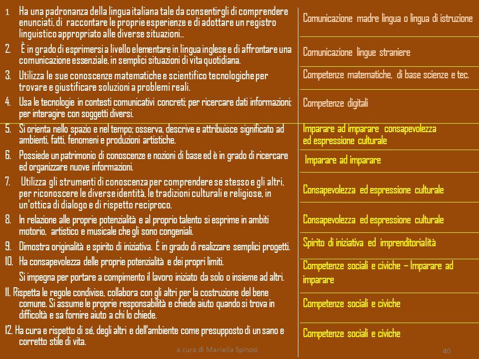 1 Ha una padronanza della lingua italiana tale da consentirgli di comprendere enunciati, di raccontare le proprie esperienze e di adottare un registro linguistico appropriato alle diverse situazioni..