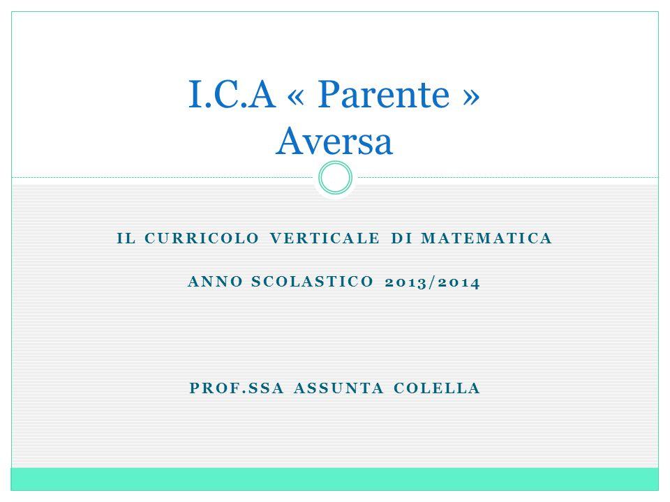 IL CURRICOLO VERTICALE DI MATEMATICA ANNO SCOLASTICO 2013/2014 PROF.SSA ASSUNTA COLELLA I.C.A « Parente » Aversa