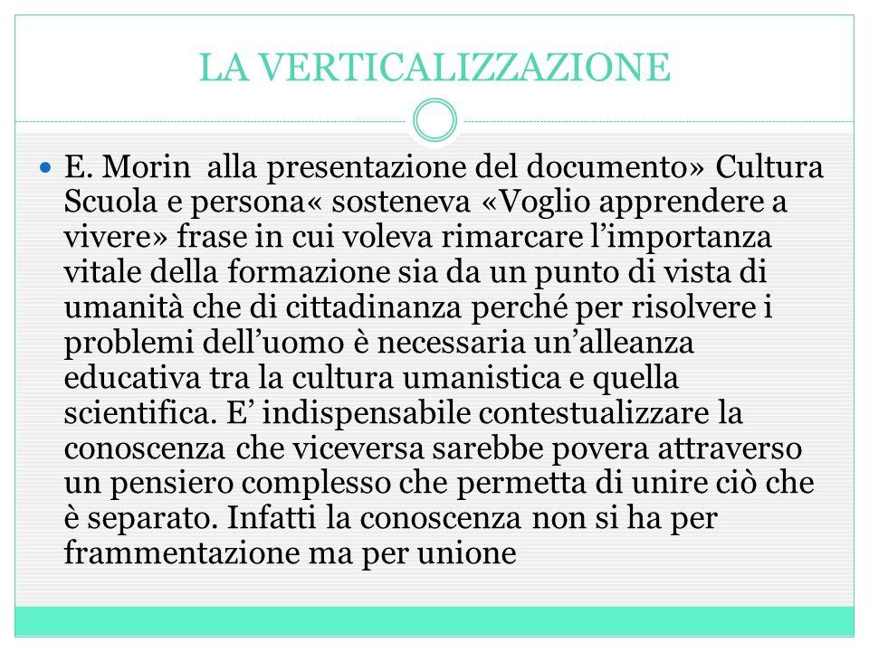 LA VERTICALIZZAZIONE E. Morin alla presentazione del documento» Cultura Scuola e persona« sosteneva «Voglio apprendere a vivere» frase in cui voleva r