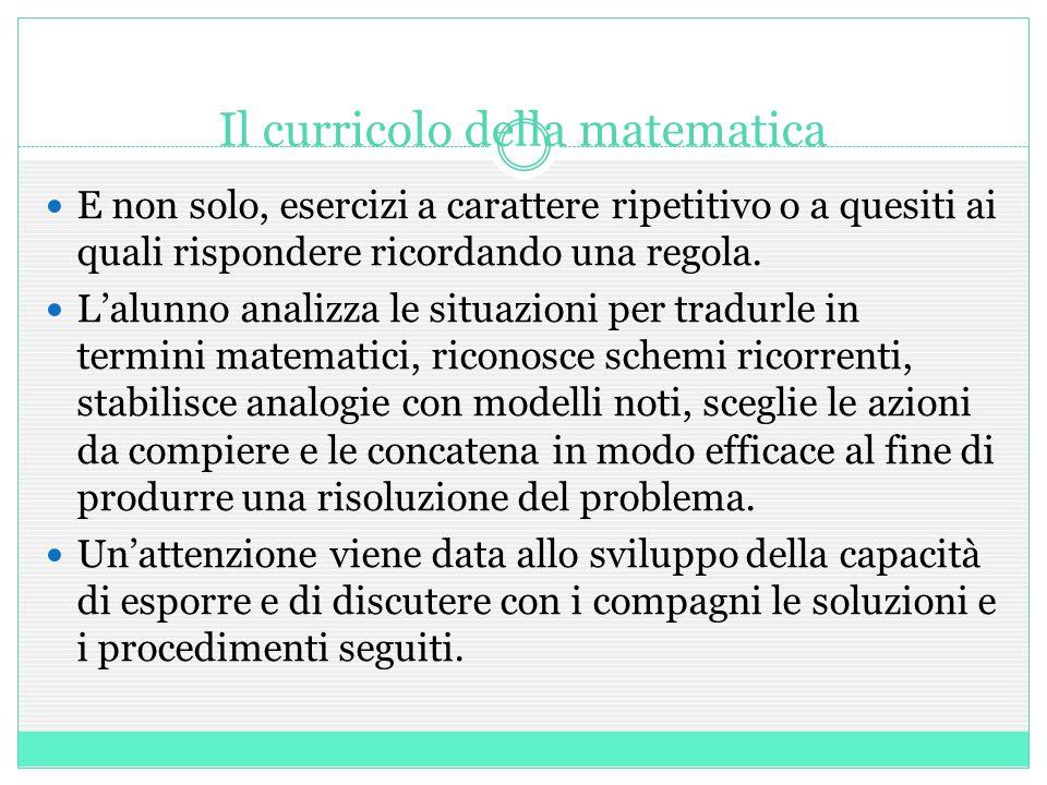 Il curricolo della matematica E non solo, esercizi a carattere ripetitivo o a quesiti ai quali rispondere ricordando una regola.