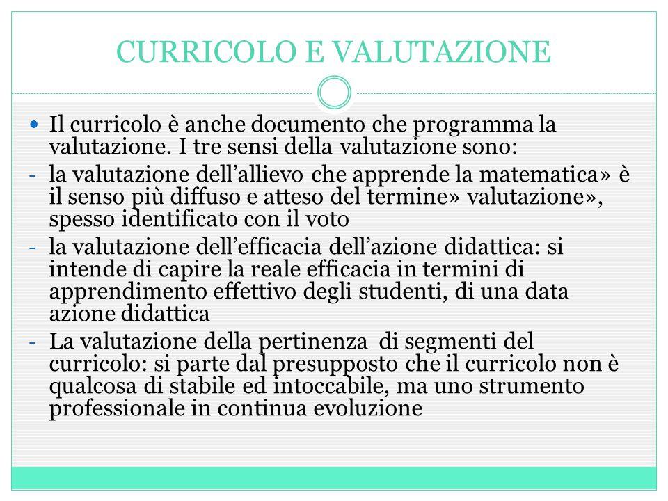 CURRICOLO E VALUTAZIONE Il curricolo è anche documento che programma la valutazione. I tre sensi della valutazione sono: - la valutazione dell'allievo