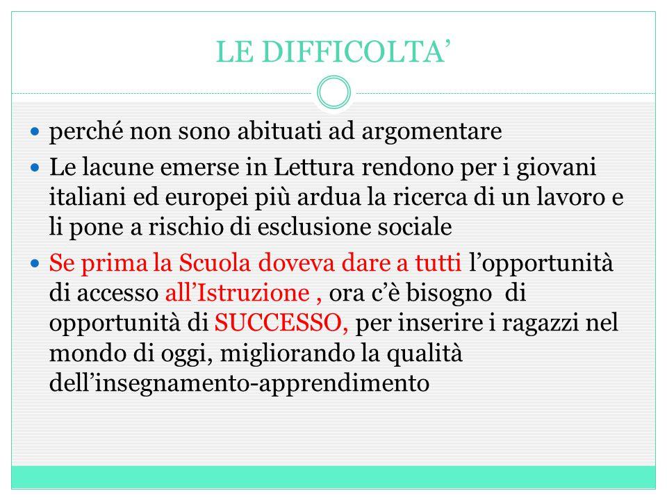 LE DIFFICOLTA' perché non sono abituati ad argomentare Le lacune emerse in Lettura rendono per i giovani italiani ed europei più ardua la ricerca di u