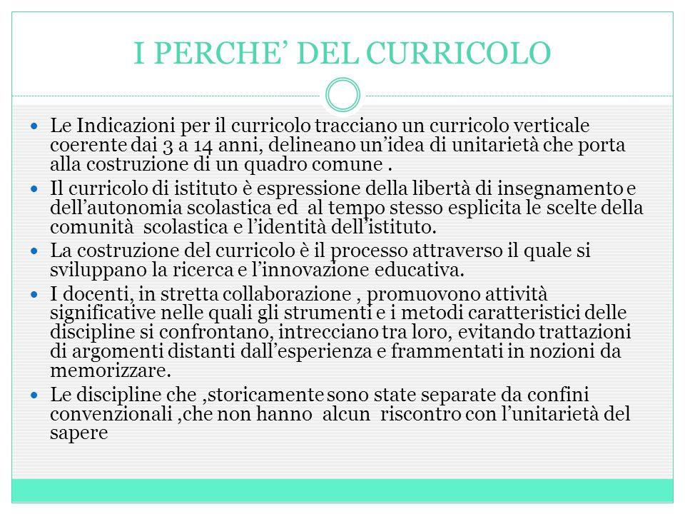 I PERCHE' DEL CURRICOLO Le Indicazioni per il curricolo tracciano un curricolo verticale coerente dai 3 a 14 anni, delineano un'idea di unitarietà che porta alla costruzione di un quadro comune.