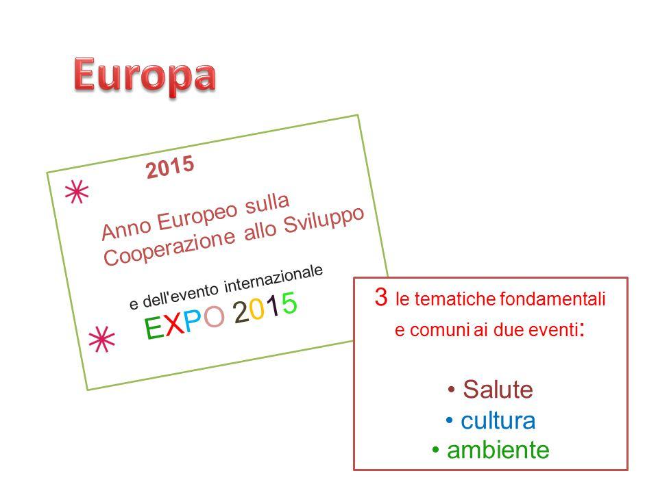 2015 Anno Europeo sulla Cooperazione allo Sviluppo e dell'evento internazionale EXPO 2015 3 le tematiche fondamentali e comuni ai due eventi : Salute