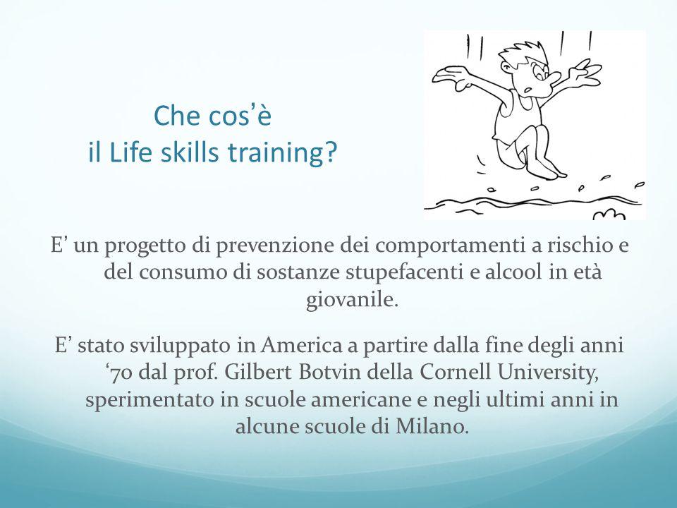 Che cos'è il Life skills training? E' un progetto di prevenzione dei comportamenti a rischio e del consumo di sostanze stupefacenti e alcool in età gi