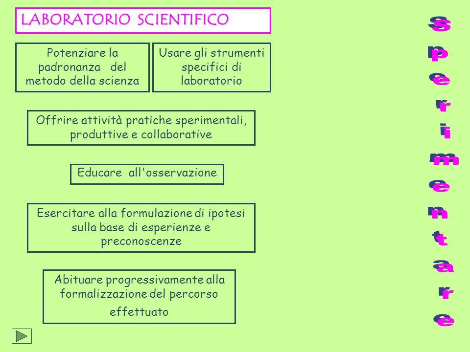 Abituare progressivamente alla formalizzazione del percorso effettuato LABORATORIO SCIENTIFICO Potenziare la padronanza del metodo della scienza Offri