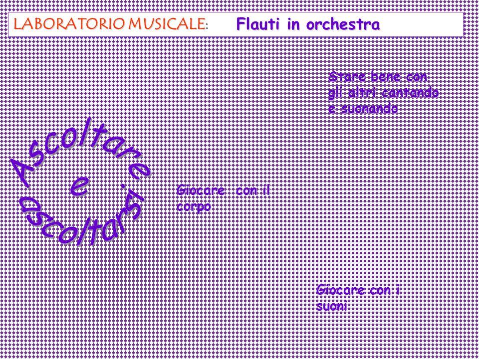 LABORATORIO MUSICALE LABORATORIO MUSICALE: Stare bene con gli altri cantando e suonando Giocare con i suoni Giocare con il corpo Flauti in orchestra