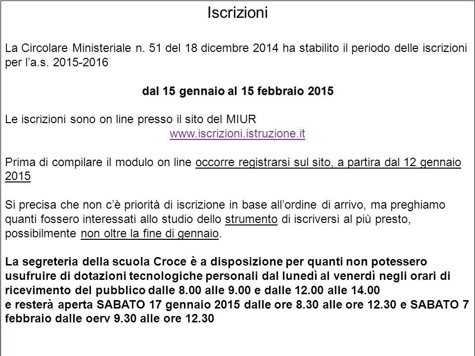 Iscrizioni La Circolare Ministeriale n.